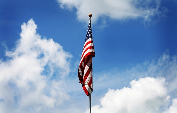 Picture the sky, clouds, flag, America, patriotism