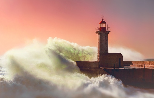 Picture sea, sunset, wave, lighthouse, the evening