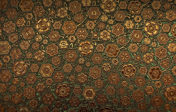 Picture flowers, pattern, texture, brown, ornament