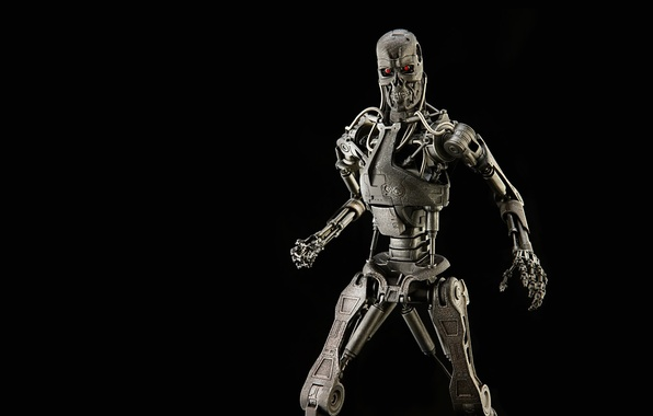 Picture skull, robot, terminator, skeleton, black background, terminator