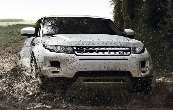 Picture road, white, squirt, background, coupe, dirt, jeep, Land Rover, Range Rover, Coupe, the front, Evoque, …