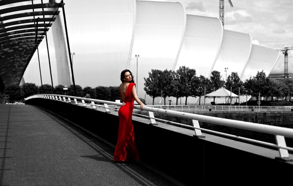 Picture girl, pose, red, street, dress, brunette, black and white