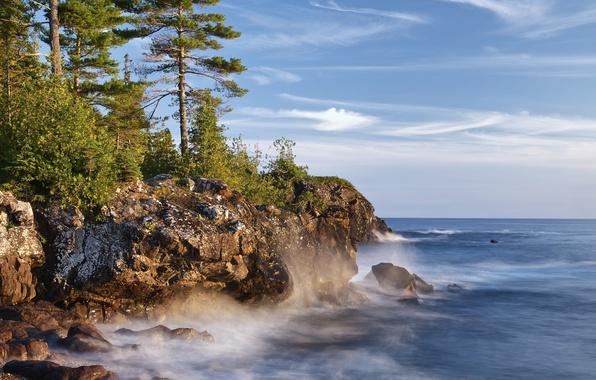 Picture lake, rocks, coast, Canada, Ontario, pine, Canada, Ontario, Lake Superior, lake superior, Great lakes, Great …