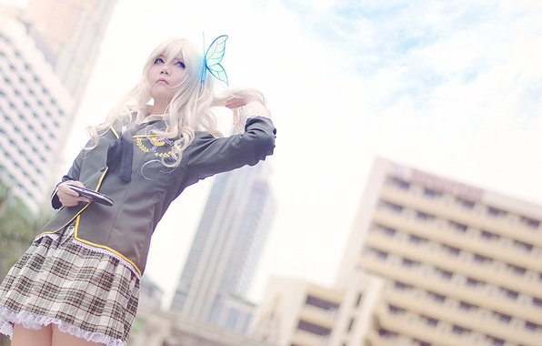Picture butterfly, Girl, blonde, cosplay, Kashiwazaki Sena, PSP