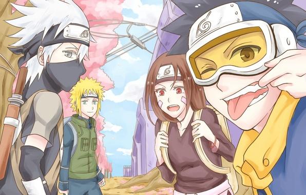 Picture language, girl, mask, art, guys, naruto, namikaze minato, wink, hatake kakashi, obito Uchiha, rin