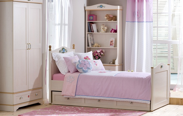Picture books, bed, pillow, window, wardrobe, curtain, shelves, flowers in a vase, the pink room