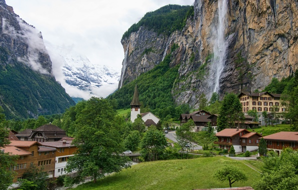 Picture road, the sky, mountains, waterfall, home, valley, Switzerland, switzerland, Staubbach