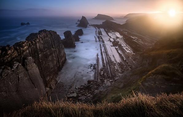 Picture sea, rocks, morning