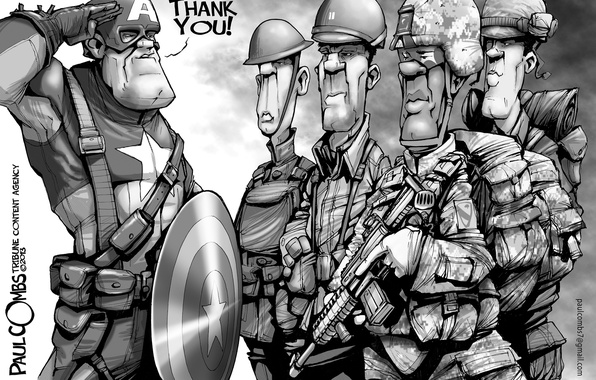 Photo wallpaper thanks, Veterans' Day, Captain America, soldiers