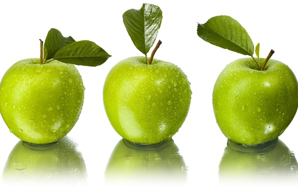 Picture leaves, water, drops, reflection, apples, green, white background