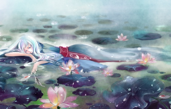 Picture girl, flowers, fog, lake, anime, art, water lilies, vira