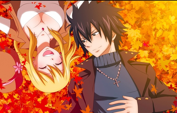 Picture autumn, leaves, girl, joy, smile, anime, pair, guy, tale of fairy tail, Fairy Tail, Lucy …
