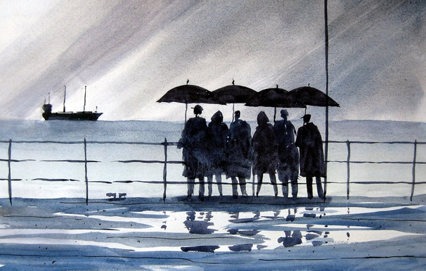 Picture sea, people, picture, watercolor