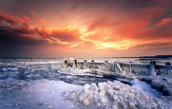 Picture sea, sunset, bridge, shore, ice