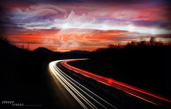 Picture road, Lights, Night, Autobahn