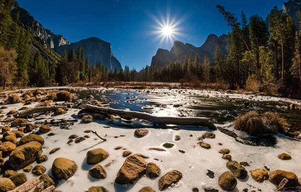 Picture forest, the sky, water, the sun, rays, trees, mountains, stream, stones, rocks, USA, California, Yosemite …