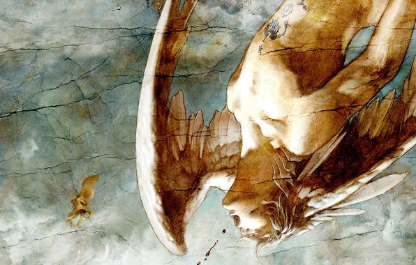 Picture cracked, blood, wings, angel, male, mural, falls
