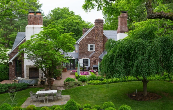 Picture greens, grass, trees, flowers, design, house, lawn, garden, fountain, the bushes
