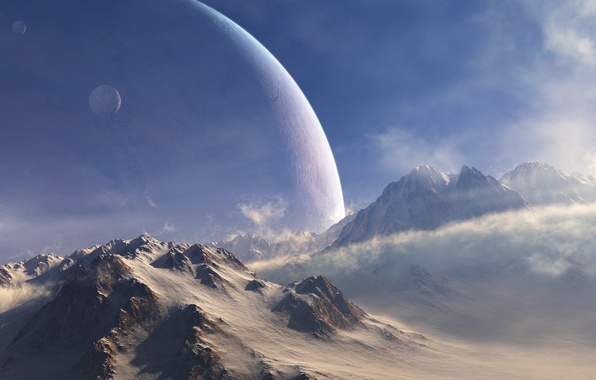 Picture cold, snow, mountains, the wind, planet, satellite, art
