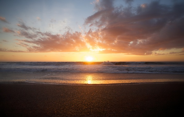 Picture sea, wave, beach, clouds, sunset