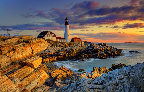 Picture the sky, clouds, sunset, house, stones, rocks, lighthouse, the evening, USA, portland