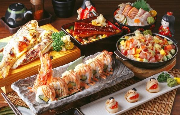 Picture fish, figure, caviar, sushi, salad, rolls