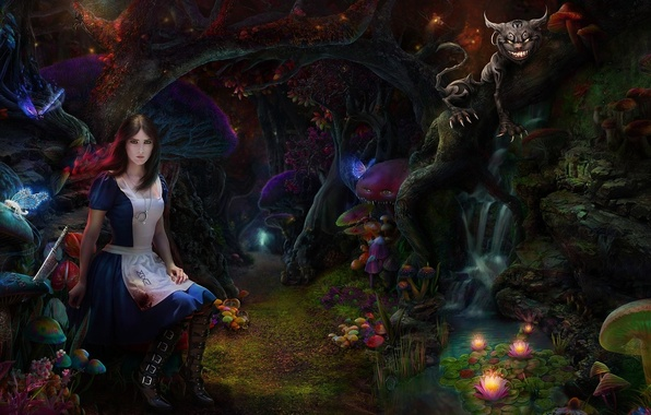 Picture forest, cat, girl, mushrooms, thicket, art, Alice Madness Returns, Cheshire