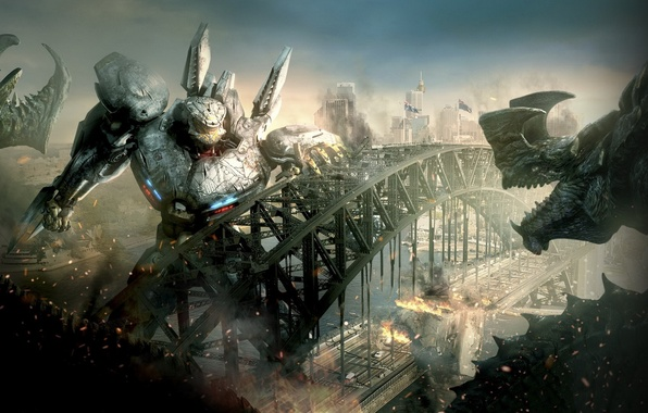Picture bridge, war, monster, robots, war, robots, movies, pacific rim, Pacific rim