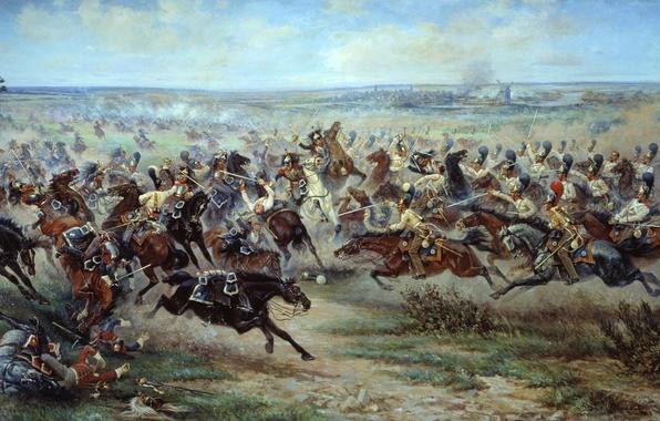 Picture field, war, smoke, artist, soldiers, battle, Russian, cavalry, the French, mazurovskii, Patriotic war