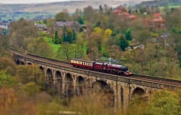 Picture autumn, trees, bridge, the way, the engine, cars, railroad, Tilt-Shift, the village, tilt shift, tilt-shift