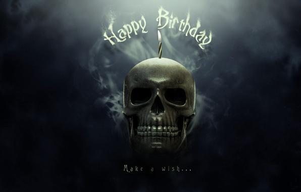 Picture smoke, skull, Happy Metal Birthday