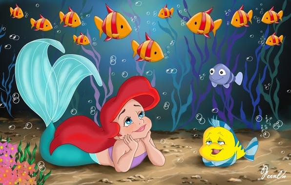 Picture sea, fish, algae, childhood, cartoon, mermaid, tale, the beauty, Princess, child, sea, Ariel, Ariel, movie, …