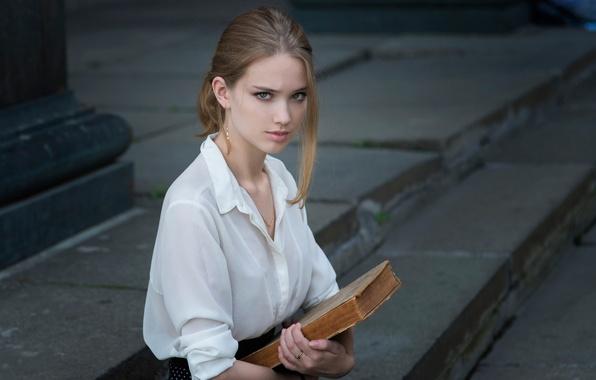 Picture portrait, book, the beauty, Lisa, Dennis Drozhzhin