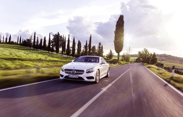 Picture Mercedes-Benz, Auto, Road, White, Machine, Mercedes, Light, Asphalt, Coupe, In motion, S-Class