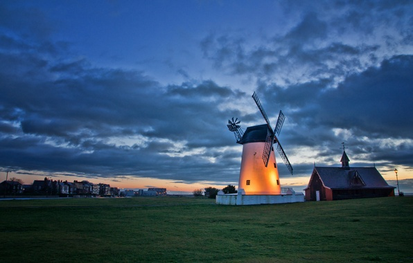 Picture the sky, clouds, landscape, sunset, England, the evening, lighting, backlight, mill, UK, twilight, the village