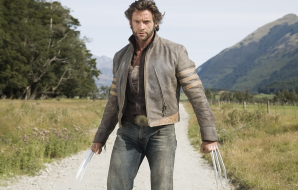 Picture sand, the sky, look, trees, mountains, dust, jacket, hero, actor, claws, male, knives, x-men, Hugh …