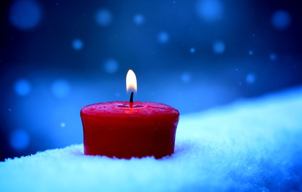 Photo Wallpaper Winter Snow Candle
