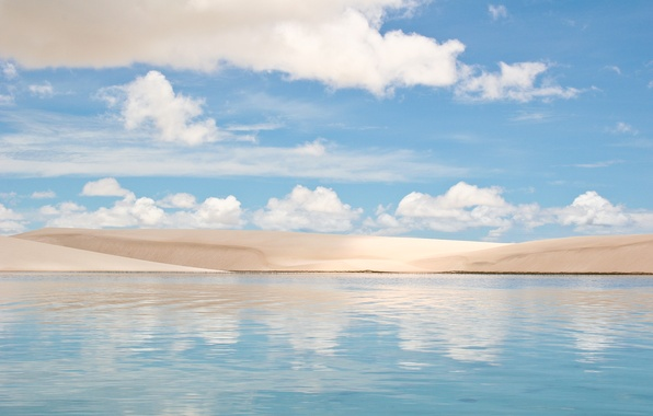 Picture water, clouds, dunes, Brazil, Sands, Brasil, Lake, Dunes
