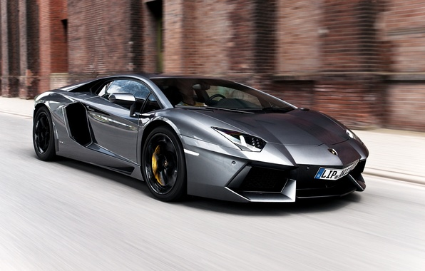 Picture road, the building, speed, silver, lamborghini, aventador, lp700-4, Lamborghini, aventador, silvery