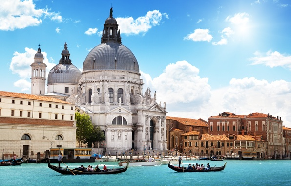 Picture sea, the sky, clouds, the city, people, Italy, Venice, Cathedral, channel, architecture, gondola, Venice, Santa …