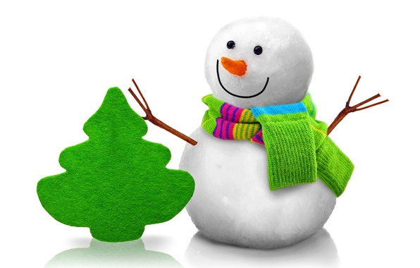 Picture tree, snowman, christmas, new year, cute, snowman, christmas tree