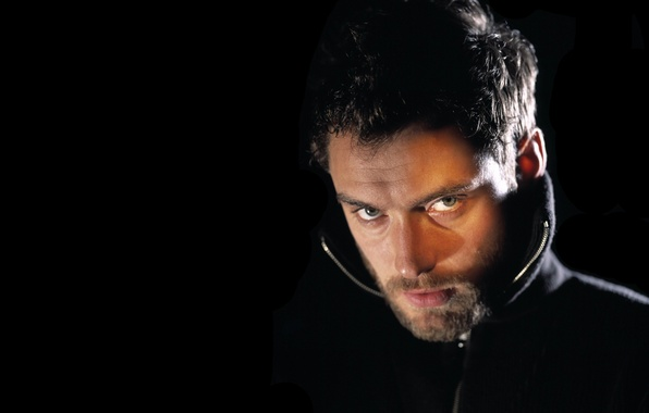 Picture look, face, male, beard, actor, black background, Jude Law, Jude Law