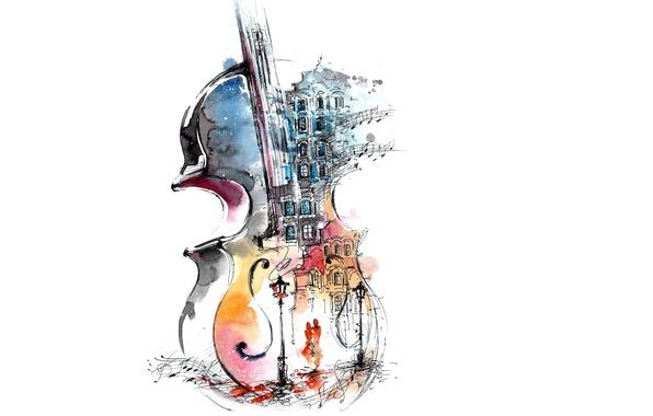Picture girl, love, street, violin, art, pair, lantern, white background, guy