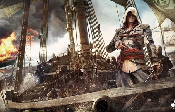 Picture the ocean, ship, pirate, assassin, Assassin's Creed 4 - Black Flag