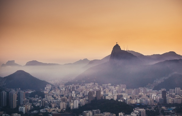 Picture mountains, fog, the evening, Rio de Janeiro, mountains, evening, fog, Rio de Janeiro, Christ, Christ, …