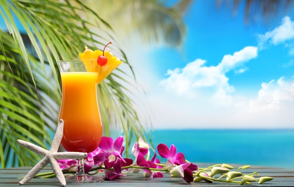 Photo Wallpaper Fruit Paradise Drink Beach Cocktail Sea