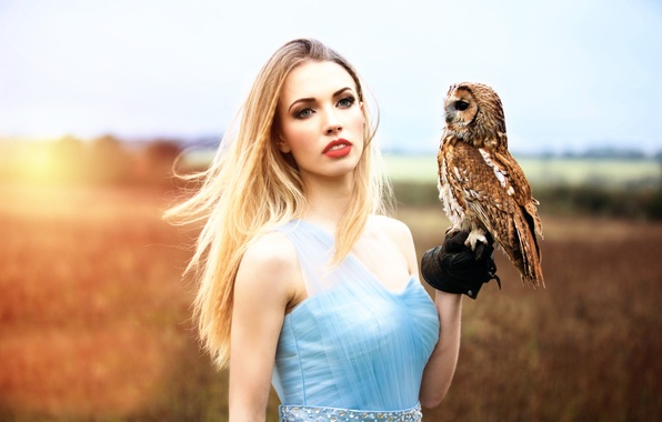 Picture girl, owl, Inese Stoner, My magic owl