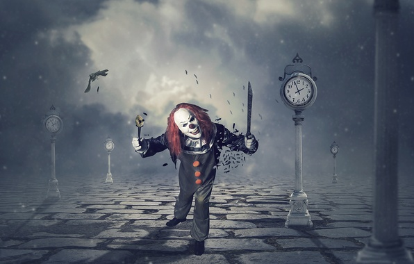 Picture background, clown, knife