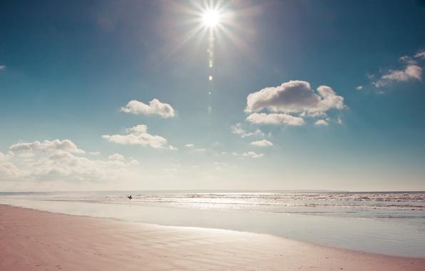 Picture sea, beach, the sun, nature, people, Board, surfer