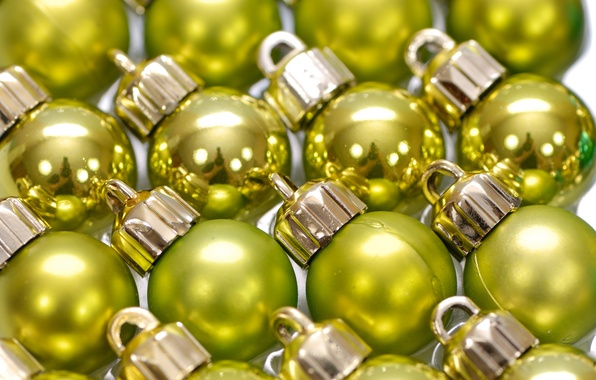Picture balls, decoration, reflection, holiday, balls, Shine, new year, a lot, mirror, Christmas decorations, yellow-green